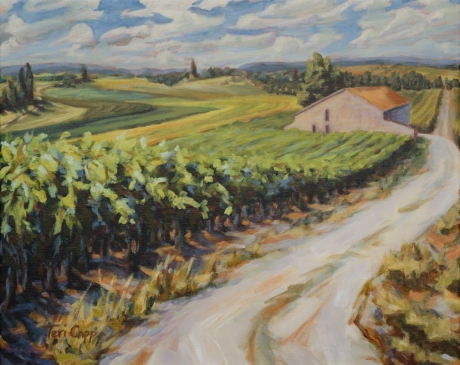 vignoble de juillet, (vines in July), 16x20, acrylic. An unknown vineyard in mid-day, southeast of the tiny town of Tulette, framed ~ $685