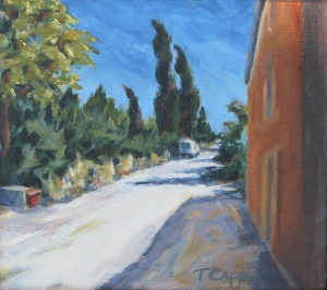 la lettre est arrive?, (has the letter arrived?), 8x9, acrylic. One of the back roads above the village of Lacoste, where I lived while studying art in France. Framed ~ $260
