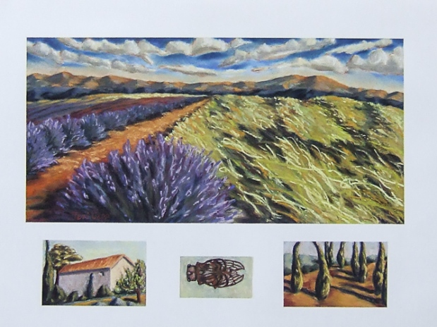 """terre au Sault,"" (land around Sault), 24""x 30,"" soft pastel on paper. I painted this with some of the ""elements"" that I associate with southern France. Stone and plaster houses, cicadas, and cypress as small parts of the story near this high, rolling field of lavender. Archivally matted and framed ~ $1,100"