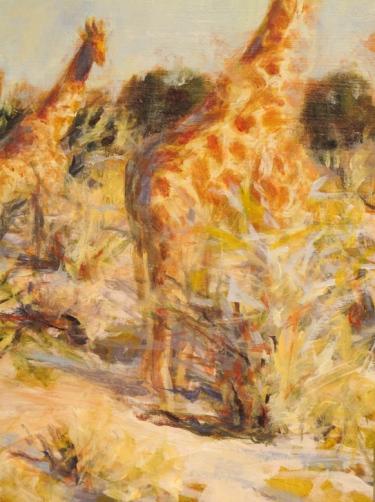 """Detail of 12""""x 16"""" """"Giraffe in Etosha's bush"""" painting"""