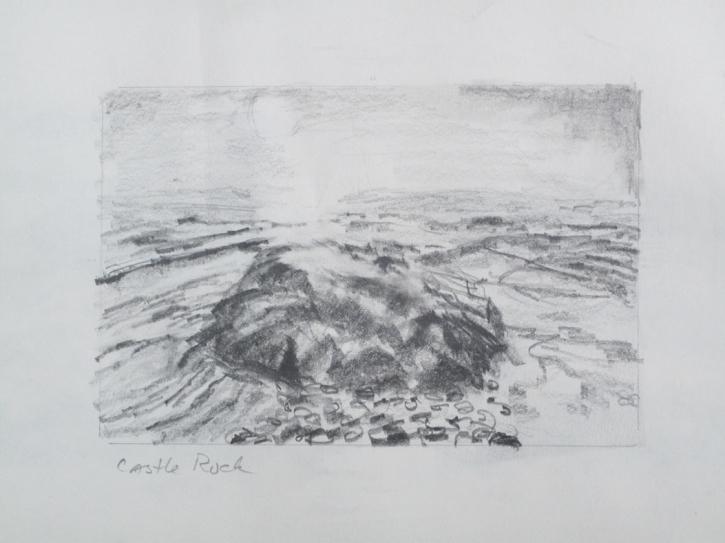 "Castle Rock - graphite study, 4""x6"""